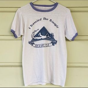 1976 I Survived the Triangle Bermuda Ringer Tee